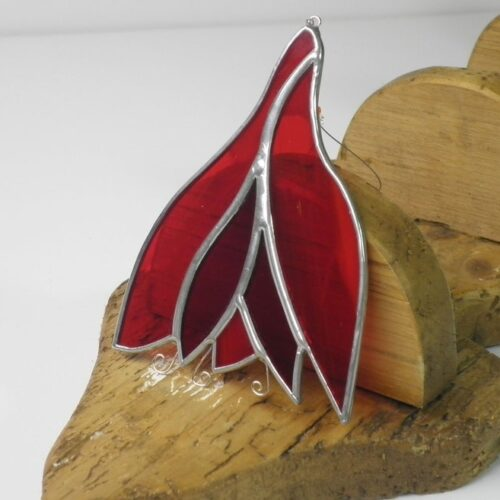 fuschia shaped stained glass sun catcher - handcrafted in ireland
