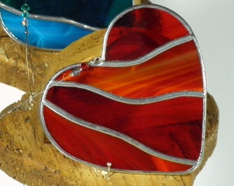 large red stained glass heart shaped sun catcher - hand crafted in ireland