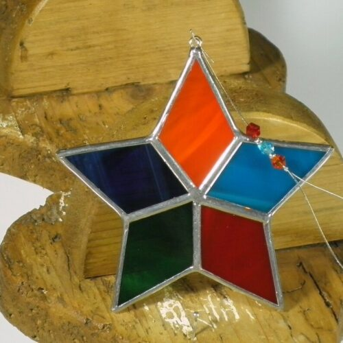 rainbow coloured star shaped stained glass suncatcher - handcrafted in Ireland