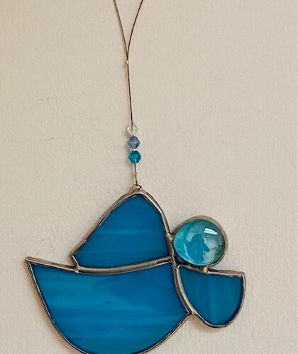 sky coloured stained glass angel - handcrafted in Ireland