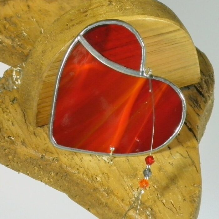 Small red stained glass suncatcher - handcrafted in Ireland
