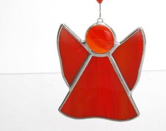 red stained glass suncatcher angel ...handcrafted in Ireland