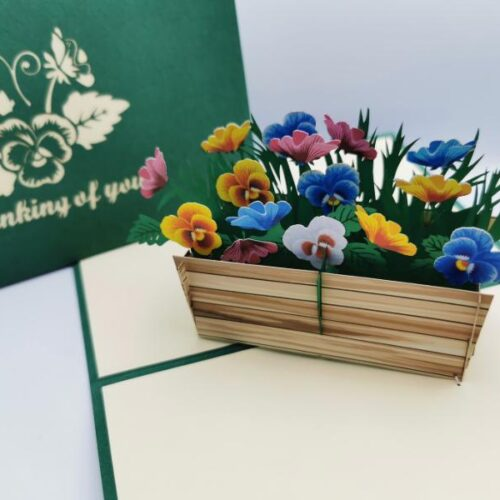 Pop up card with message Thinking of You and pop up of flowers in a wooden crate