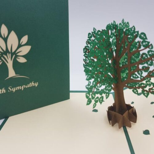 Pop Up Card with cut out of tree shedding leaves